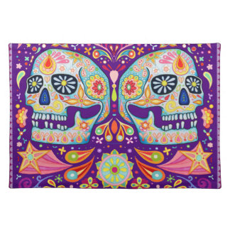 Funky Sugar Skulls Placemat Day of the Dead