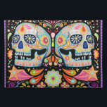 """Funky Sugar Skulls Placemat Day of the Dead<br><div class=""""desc"""">This Sugar Skull placemat features a colorful psychedelic calavera celebrating Mexico&#39;s Day of the Dead,  or Dia de los Muertos. The funky design for this Sugar Skull placemat is based on the artwork of Thaneeya McArdle.</div>"""
