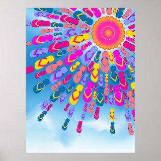 Funky Summer Sun Flip-Flops Rays Poster