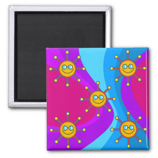 Funky Sun 2 Inch Square Magnet