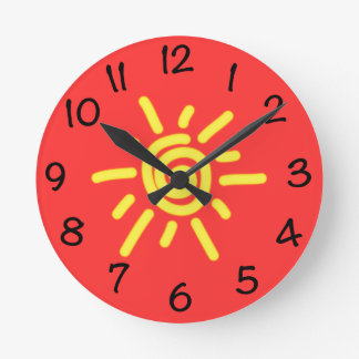 Funky Sun Round Clock