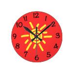 Funky Sun Round Wall Clock