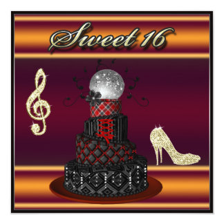 Funky Sweet 16 Disco Diva Cake, Gold Sparkle Heels Card