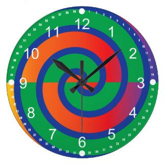 Funky Swirls Pattern Color Splash Clock
