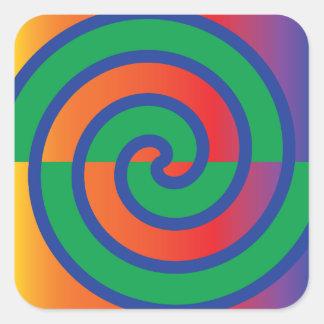 Funky Swirls Pattern Color Splash Square Sticker