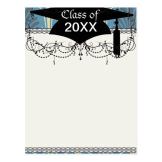 funky taupe and blue ancient damask graduation post card