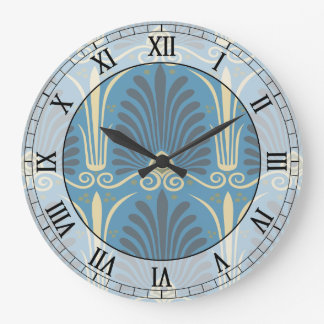 funky taupe and blue ancient damask roman numerals wallclocks