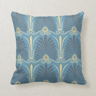 funky taupe and blue ancient damask throw pillow