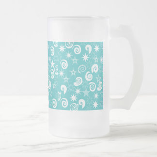 Funky Teal Blue Stars Swirls Fun Pattern Gifts Frosted Glass Beer Mug