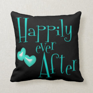 Funky Teal Faux Glitter Happily Ever After Hearts Pillow