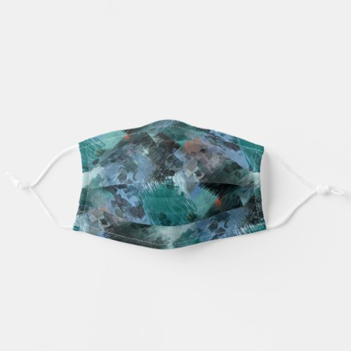 Funky Teal Green Blue Black Gray Art Pattern Adult Cloth Face Mask