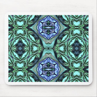 Funky Teal Lilac Artistic Pattern Mouse Pad