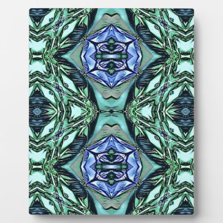 Funky Teal Lilac Artistic Pattern Plaque