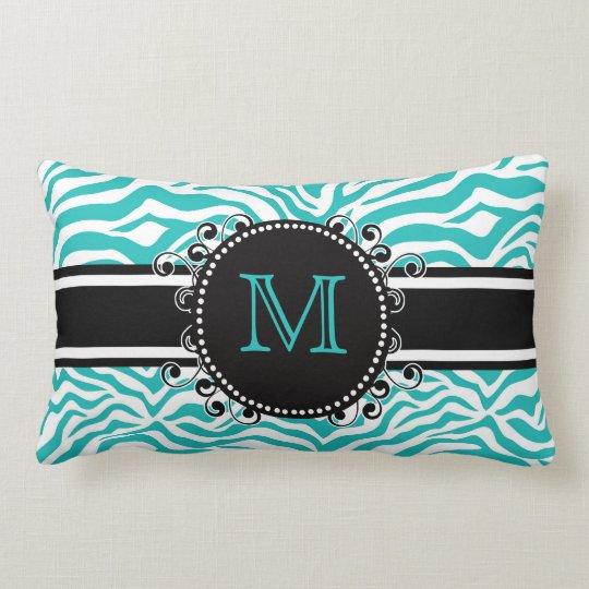 Funky Teen or Tween BLUE Zebra Print with Monogram Lumbar Pillow