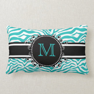 Funky Teen or Tween BLUE Zebra Print with Monogram Pillow