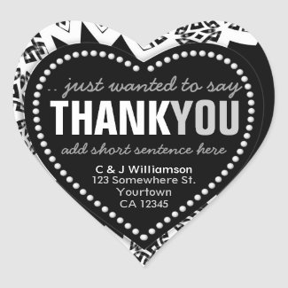 Funky Thank You Abstract Black+White Heart Sticker