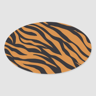 Funky Tiger Stripes Wild Animal Patterns Gifts Oval Sticker