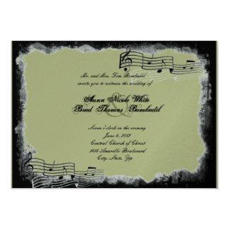 Funky Torn Paper Black Metallic Wedding Invitation