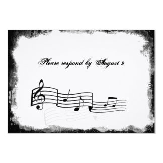 Funky Torn Paper Black Music rsvp with envelopes 3.5x5 Paper Invitation Card