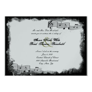 Funky Torn Paper Black Music Wedding Invitation