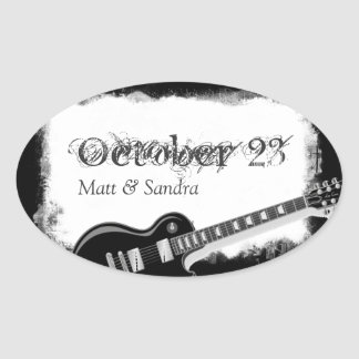 Funky Torn Paper Music Guitar Save the Date Seals Oval Sticker