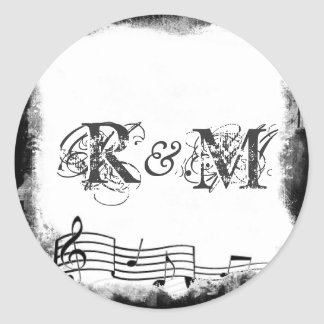 Funky Torn Paper Music Seals Classic Round Sticker