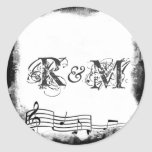 Funky Torn Paper Music Seals Stickers