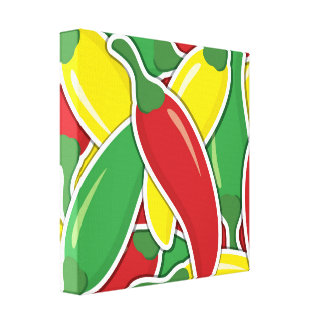 Funky traffic light chilli peppers canvas print