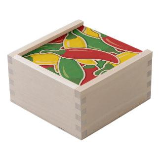 Funky traffic light chilli peppers wooden keepsake box