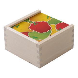 Funky traffic light peppers wooden keepsake box