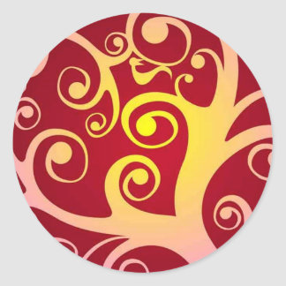 Funky Tree Round Sticker