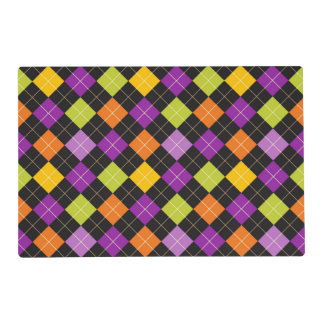 Funky Trendy Retro Abstract Halloween Pattern Laminated Place Mat