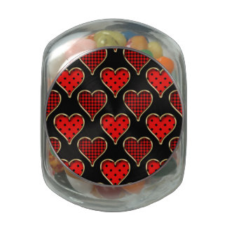 Funky Trendy Retro Abstract Heart Pattern Glass Candy Jars