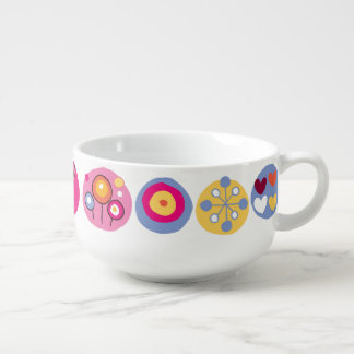 Funky Trendy Retro Abstract Pattern Soup Bowl With Handle