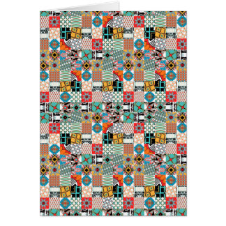 Funky Tribal Patchwork Geometric Pattern Card