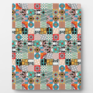 Funky Tribal Patchwork Geometric Pattern Photo Plaques