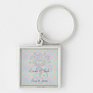 funky tropical colors damask key chains