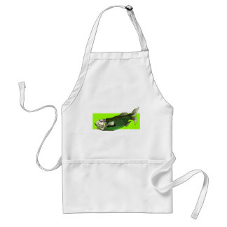 Funky Tropical Fish in Black and Green Apron