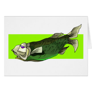Funky Tropical Fish in Black and Green Greeting Cards