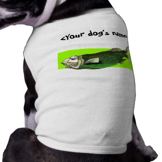 Funky Tropical Fish in Black and Green Dog T-shirt