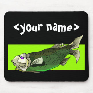 Funky Tropical Fish in Black and Green Mousepad