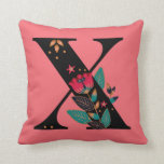 Funky Tulip Monogrammed Initial Name Throw Pillow