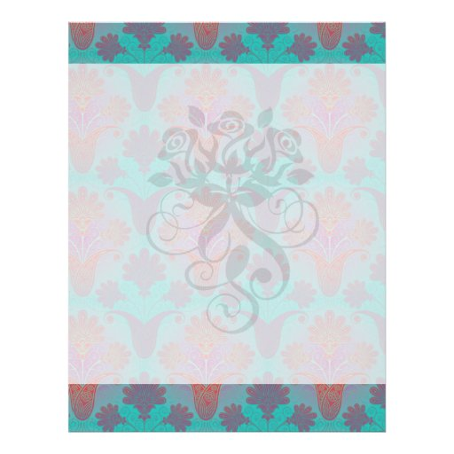 funky turquoise and magenta  damask personalized flyer