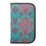 funky turquoise and magenta  damask folio planner