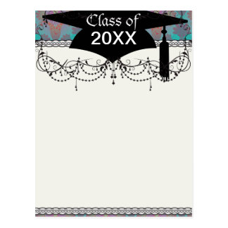 funky turquoise and magenta damask graduation post cards
