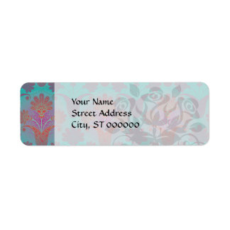 funky turquoise and magenta  damask return address labels