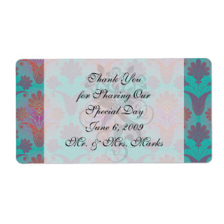 funky turquoise and magenta  damask personalized shipping labels