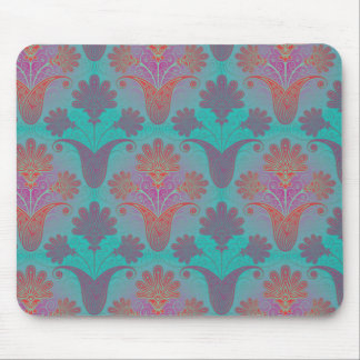 funky turquoise and magenta  damask mouse pads