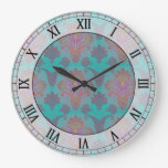 funky turquoise and magenta damask roman numerals wallclock