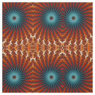 Funky Turquoise And Orange Spiral Fractal Flowers Fabric